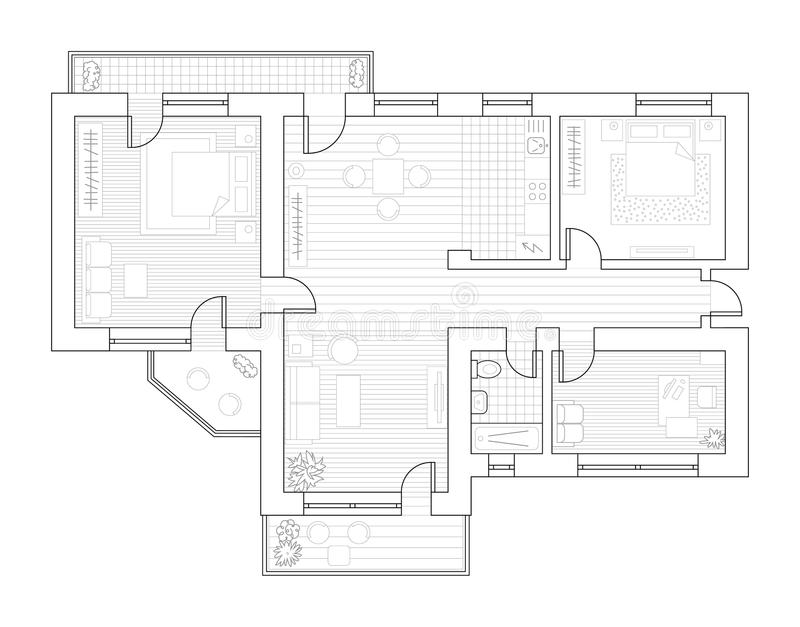 Architekturplan mit Möbeln in der Draufsicht Bunte grafische Abbildung stock abbildung