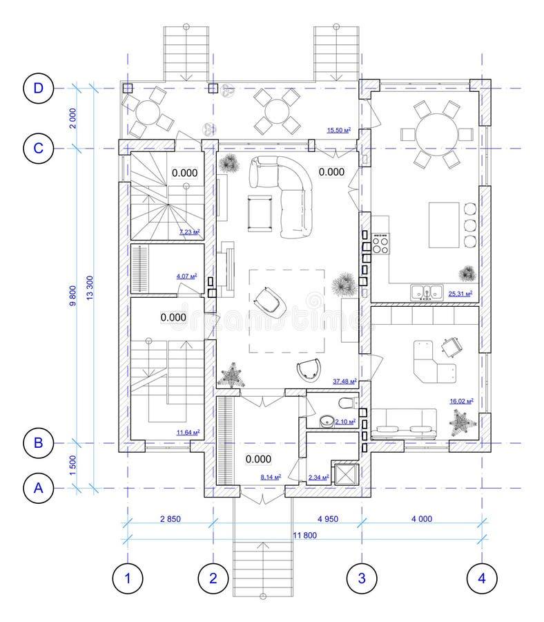 Architekturplan von 1 Fußboden Haus vektor abbildung