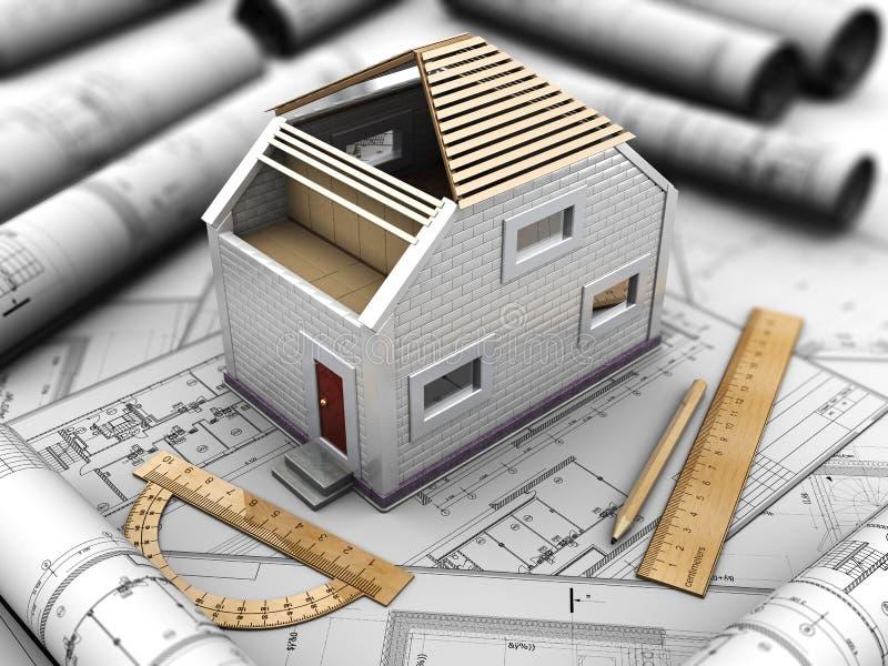 Architekturprojekt des Hauses vektor abbildung