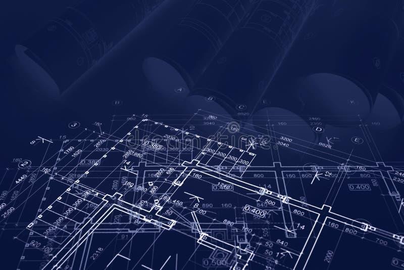 Architekturprojekt mit technischen Konstruktionszeichnungen blaues getontes imag lizenzfreie abbildung