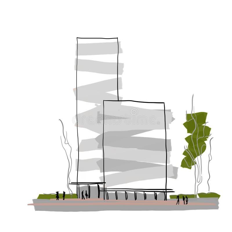 Architekturskizze der modernen Gebäudedesign-Zusammenfassung der Architektur mehrstöckigen vektor abbildung