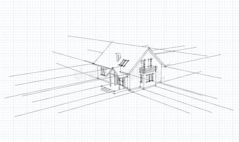 Download Architekturskizze Eines Hauses Stock Abbildung