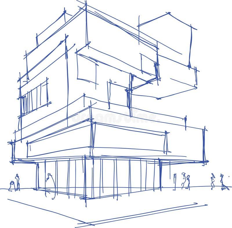 Download Architekturskizze Eines Modernen Gebaudes Vektor Abbildung