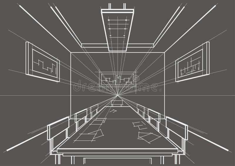 Download Architekturskizzen Innenkonferenzsaal Auf Grauem Hintergrund Vektor Abbildung