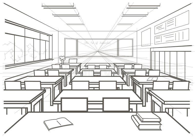Architekturskizzeninnenschulklassenzimmer lizenzfreie abbildung