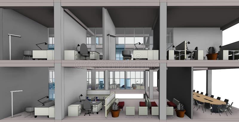 Architekturskizzenzeichnungs-Gebäudemodell stock abbildung