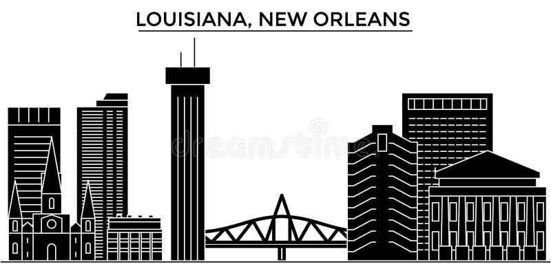 Architekturvektor-Stadtskyline USA, Louisiana, New Orleans, Reisestadtbild mit Marksteinen, Gebäude, lokalisiert stock abbildung