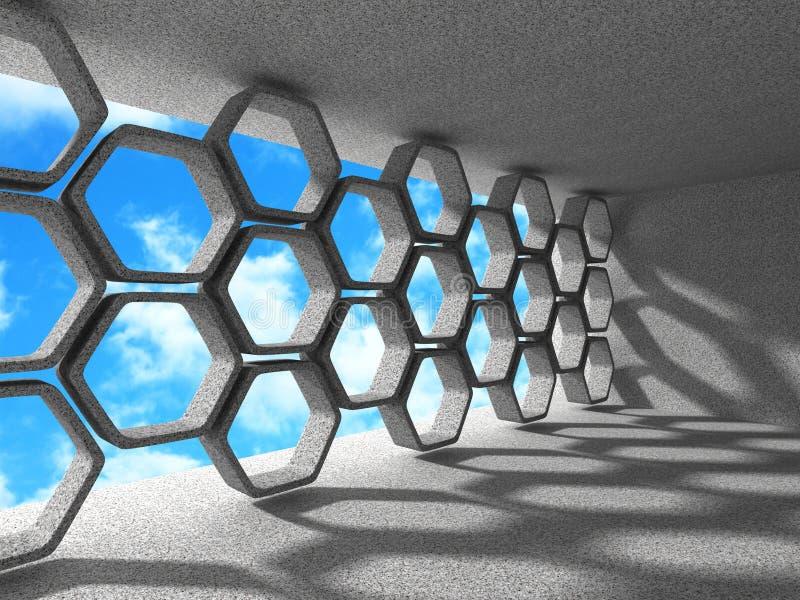 architektury abstrakcjonistyczny tło Sześciokąta Wewnętrzny projekt Backgr ilustracji