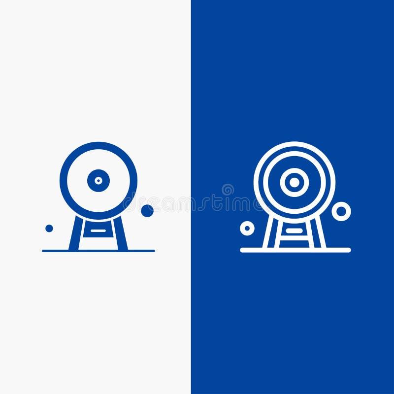 Architektury, Anglia, Ferris koła, punktu zwrotnego, London Eye, linii i glifu Stałej ikony sztandaru glifu, i linii Błękitnej ik ilustracja wektor