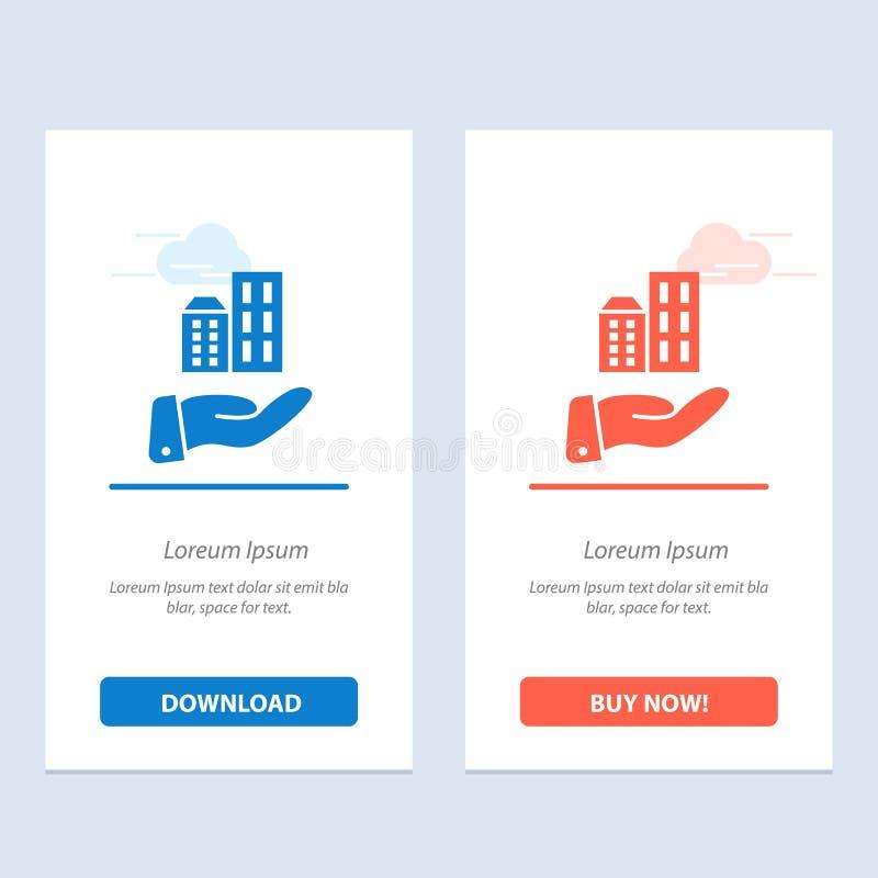 Architektury, biznesu, Nowożytnego, Podtrzymywalnego sieci Widget karty szablon, Błękitnej i Czerwonej ściągania i zakupu Teraz ilustracji