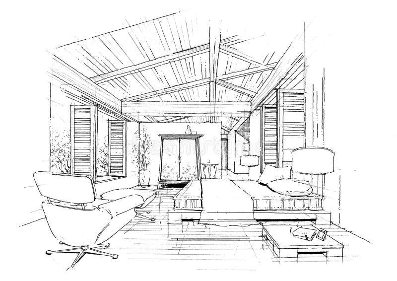 architektury budowy wnętrza krajobrazu sketc ilustracji