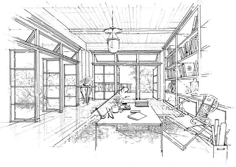 architektury budowy wnętrza krajobrazu sketc royalty ilustracja