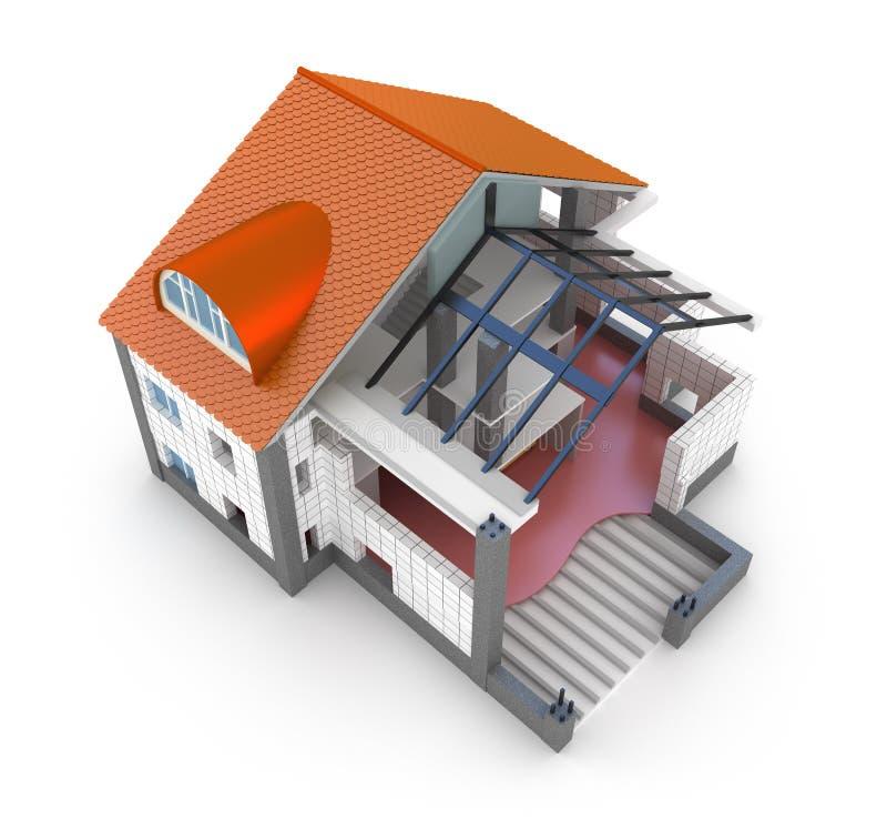 architektury dom odizolowywający planu biel ilustracja wektor