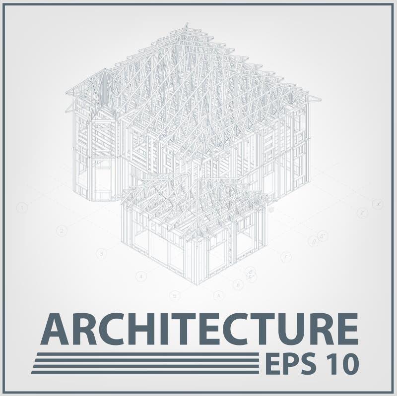architektury domowy ilustracyjny projekta wektor ilustracji