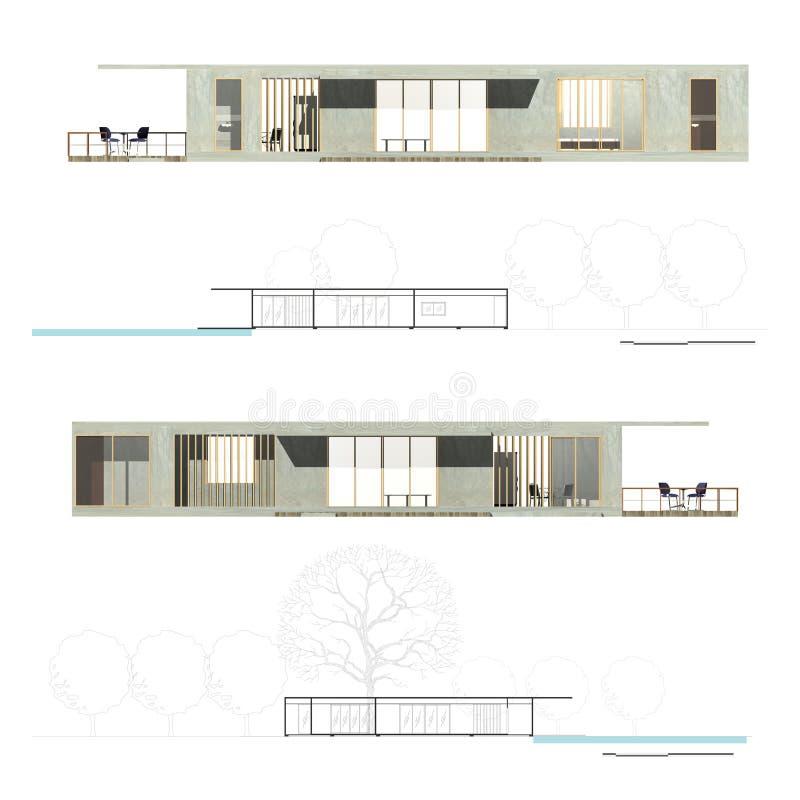 architektury elewaci sekcja ilustracji