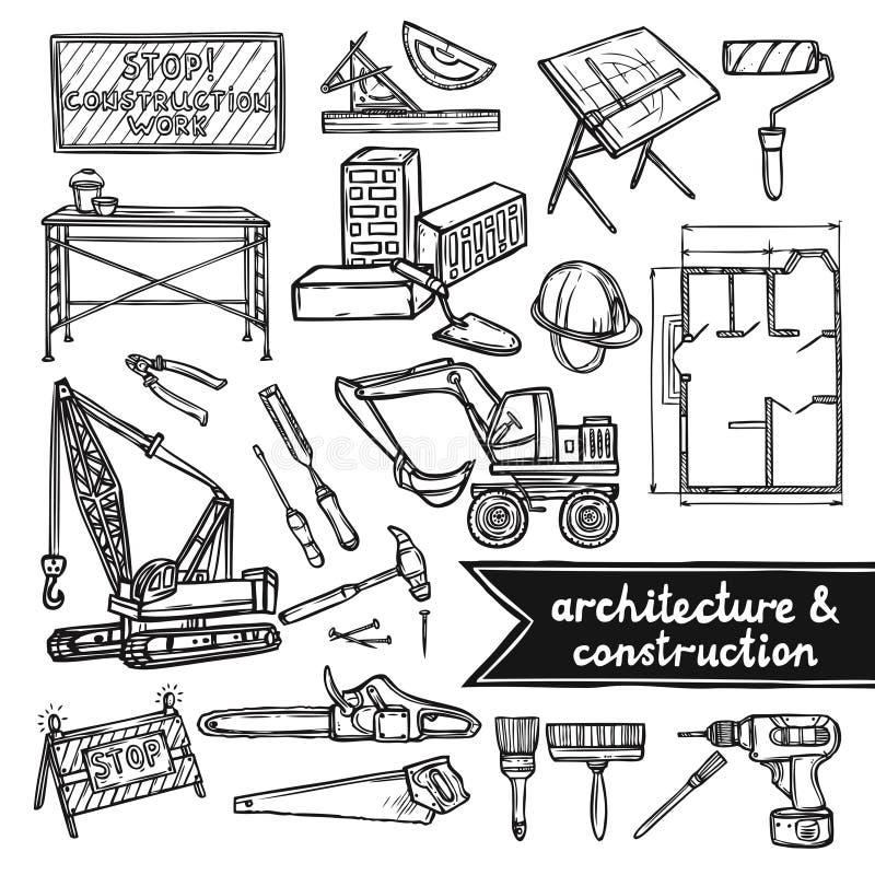 Architektury i budowy ikony ilustracja wektor