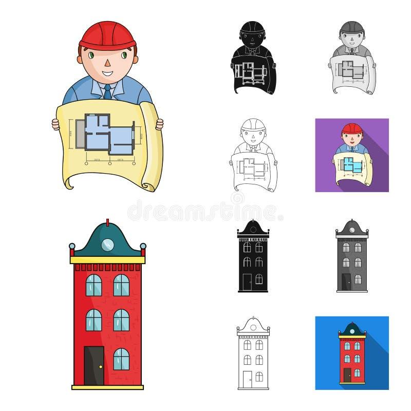 Architektury i budowy kreskówka, czerń, mieszkanie, monochrom, kontur ikony w ustalonej kolekci dla projekta Architekt i royalty ilustracja