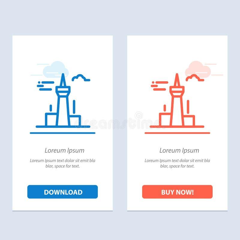 Architektury i sieci Widget karty szablon miasta, budynków, Kanada, wierza, punktu zwrotnego, Błękitnej i Czerwonej ściągania i z ilustracja wektor