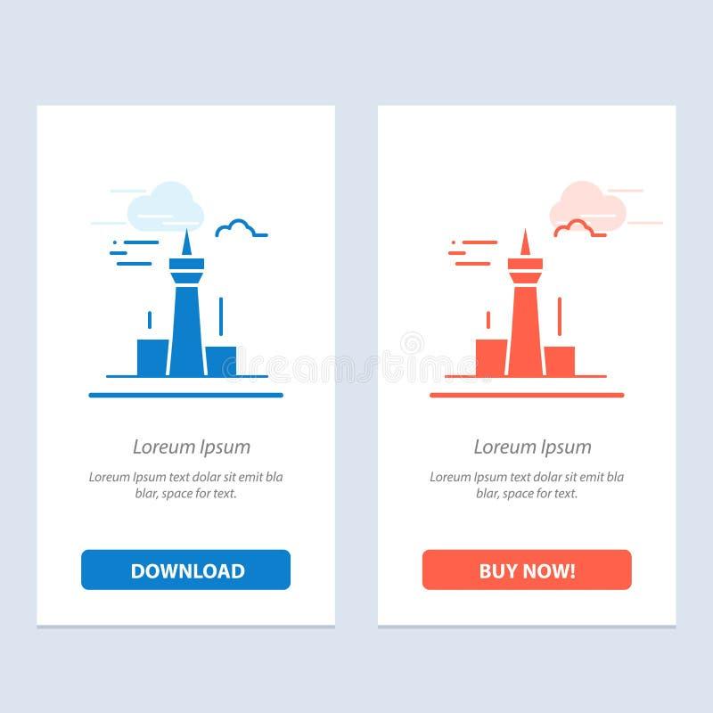 Architektury i sieci Widget karty szablon miasta, budynków, Kanada, wierza, punktu zwrotnego, Błękitnej i Czerwonej ściągania i z royalty ilustracja