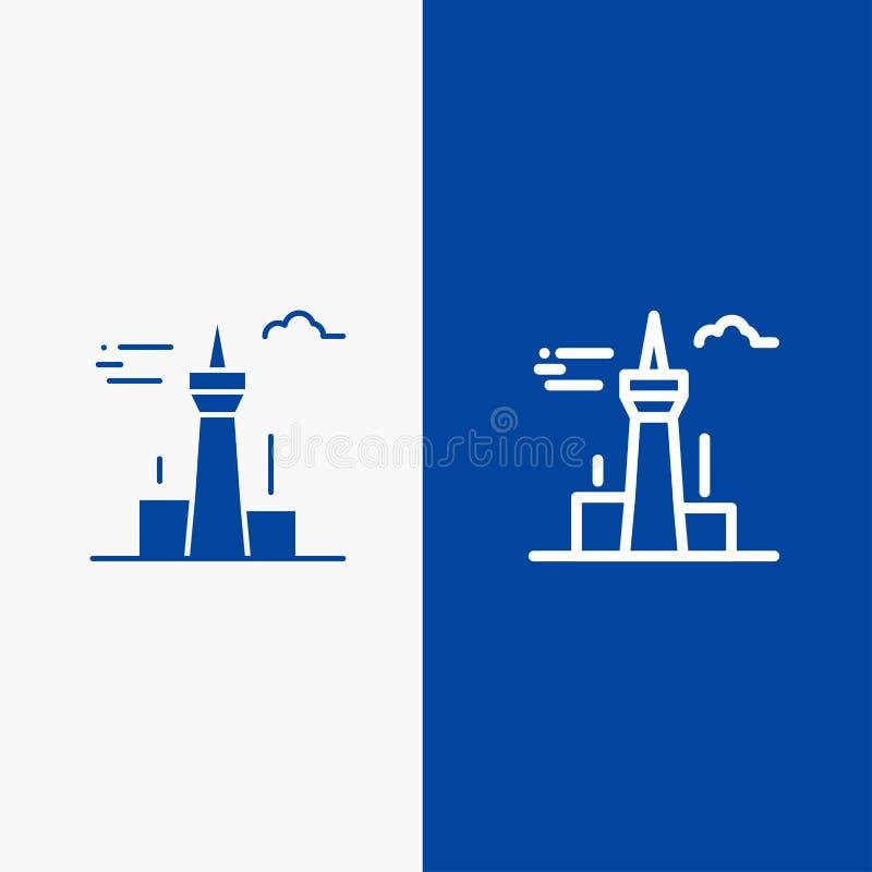 Architektury i Stałej ikony sztandaru glifu miasta, budynków, Kanada, wierza, punkt zwrotny linii i glifu, Błękitnej ikony Stały  ilustracji