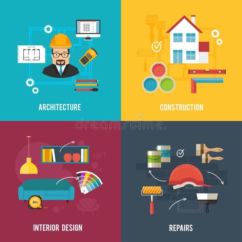 Architektury i wewnętrznego projekta pojęcia sztandary z architectu ilustracja wektor