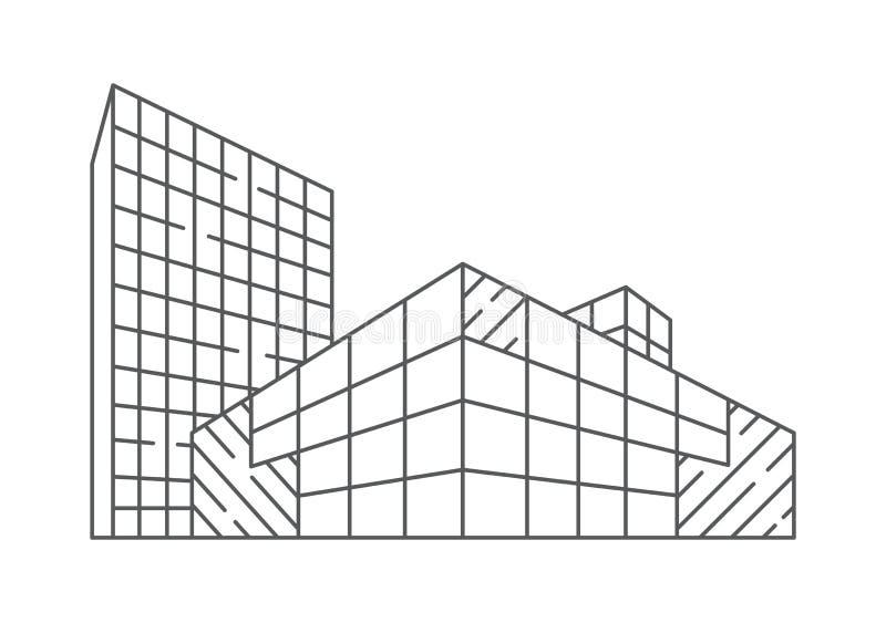 Architektury ilustracja w liniowym stylu ilustracja wektor