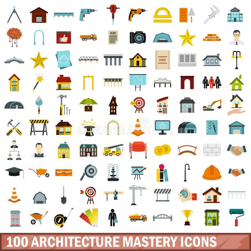 100 architektury mistrzostwa ikon ustawiających, mieszkanie styl ilustracja wektor
