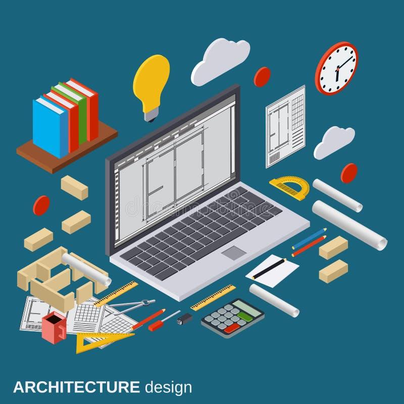 Architektury planowanie, wewnętrzny projekt, architekta miejsca pracy wektoru ilustracja ilustracji