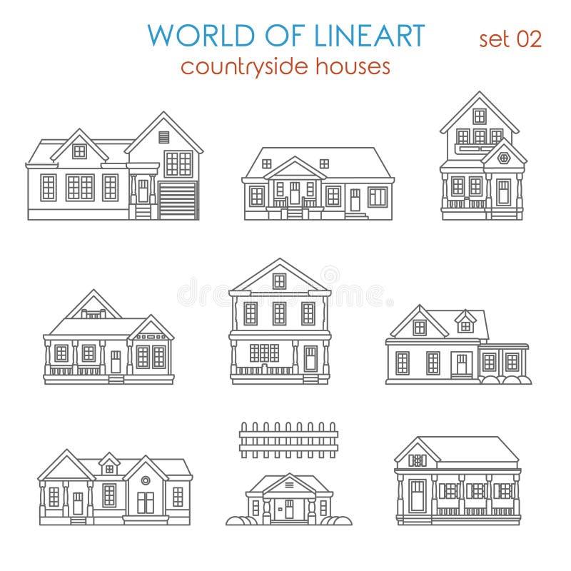 Architektury wsi domu domu miejskiego lineart wektor royalty ilustracja