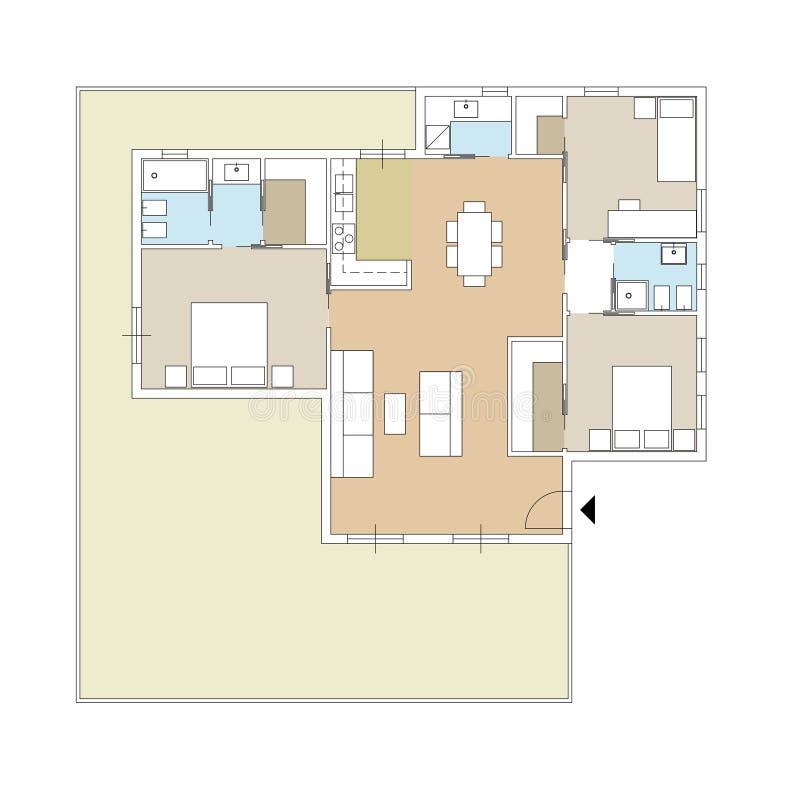 Architekturzeichnung eines Privathauses mit Küche, Schlafzimmern, Wohnzimmer, Esszimmer, Badezimmer und Möbeln, Draufsicht des Da vektor abbildung
