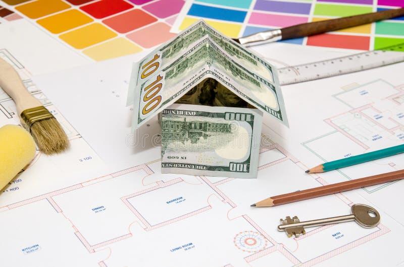Architekturzeichnungen Für Häuser Mit Dollar, Farben, Stockfoto ...