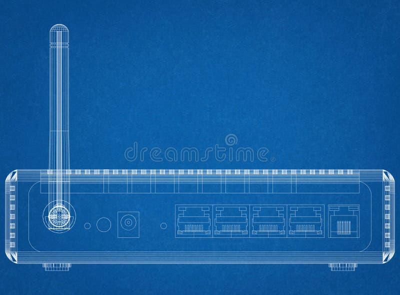 Architetto Blueprint del router illustrazione vettoriale