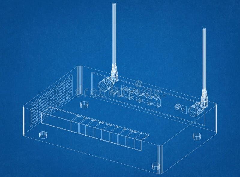 Architetto Blueprint del router illustrazione di stock
