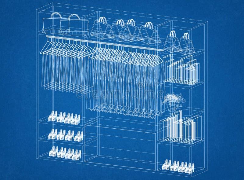 Architetto Blueprint di progettazione dell'organizzatore del gabinetto royalty illustrazione gratis