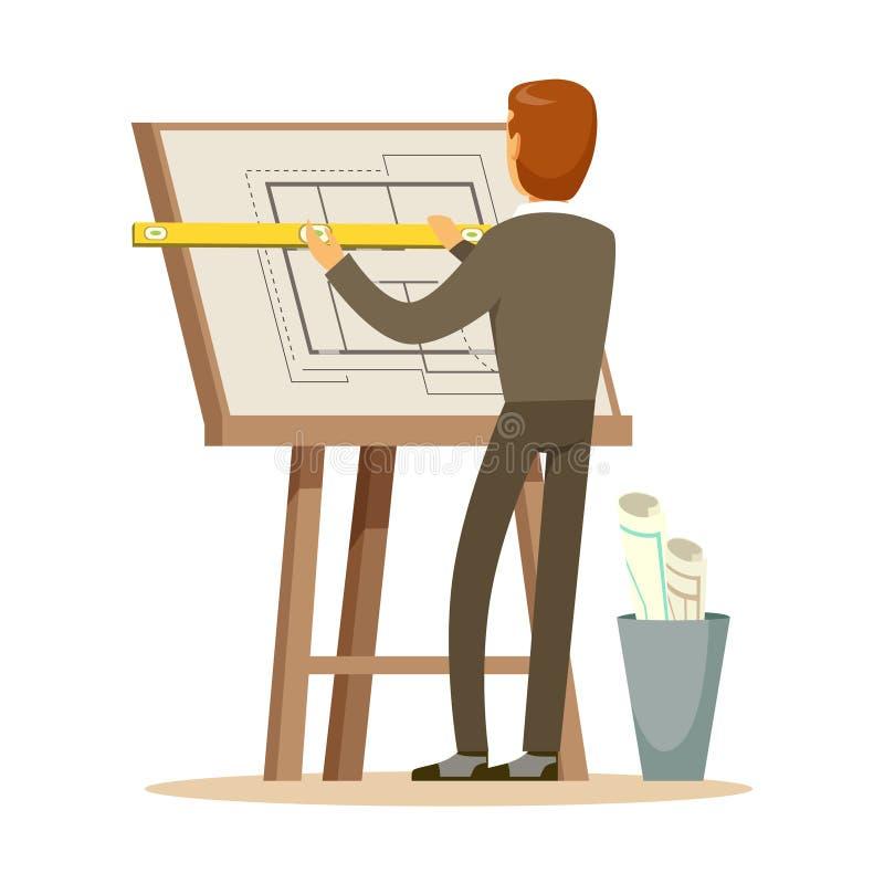 Architetto che lavora al suo progetto su un tavolo da disegno, illustrazione variopinta di vettore del carattere illustrazione vettoriale