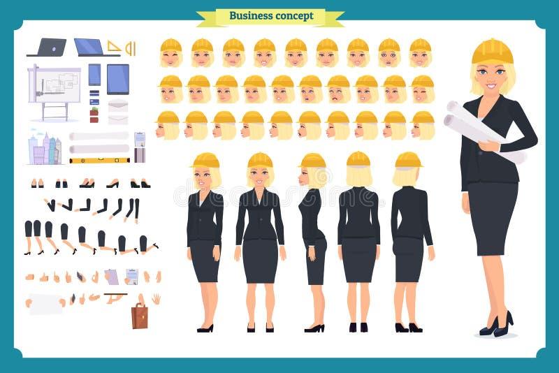 Architetto della donna in vestito ed in casco protettivo Insieme della creazione del carattere royalty illustrazione gratis