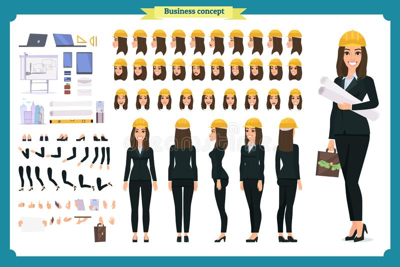Architetto della donna in vestito ed in casco protettivo Insieme della creazione del carattere illustrazione di stock