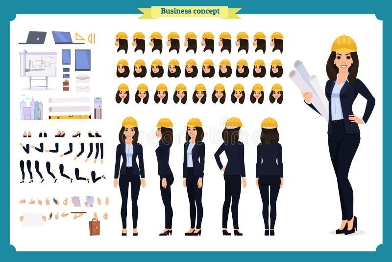Architetto della donna in vestito ed in casco protettivo Insieme della creazione del carattere illustrazione vettoriale