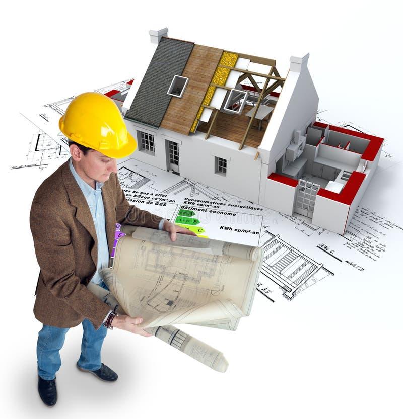 Architetto e casa di ottimo rendimento illustrazione di stock