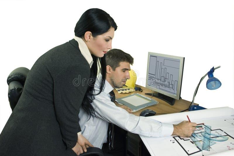 Architetto ed assistente tecnico immagine stock