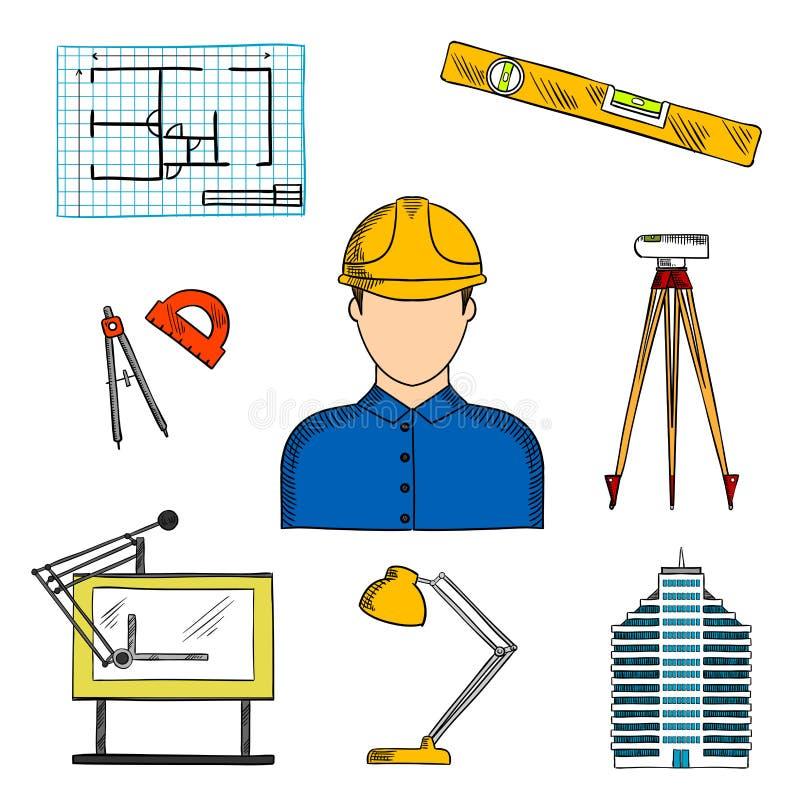 Architetto o ingegnere con i simboli della costruzione illustrazione vettoriale