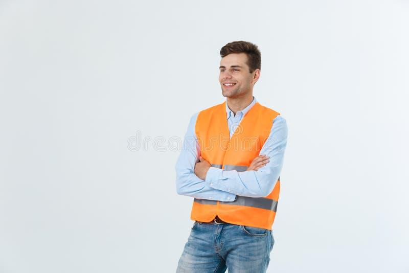 Architetto o ingegnere immaginario che cerca e che pensa ai nuovi progetti Maglia riflettente d'uso su bianco immagine stock
