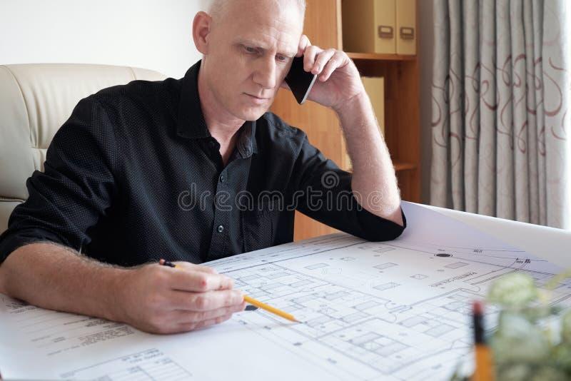 Architetto occupato At Work fotografia stock