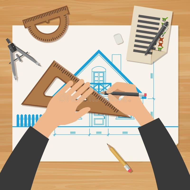 Architetto sul lavoro illustrazione di stock