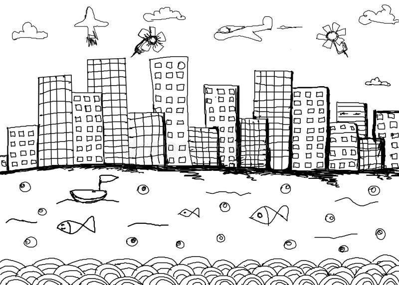Architettonico disegnato a mano (idea, disegno, città) su backgroun bianco royalty illustrazione gratis