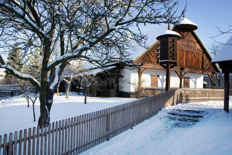 Architettura agricola tradizionale in museo all'aperto in Na di Prerov fotografia stock libera da diritti