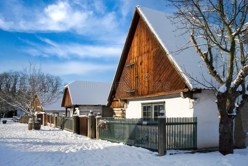 Architettura agricola tradizionale in museo all'aperto in Na di Prerov fotografia stock
