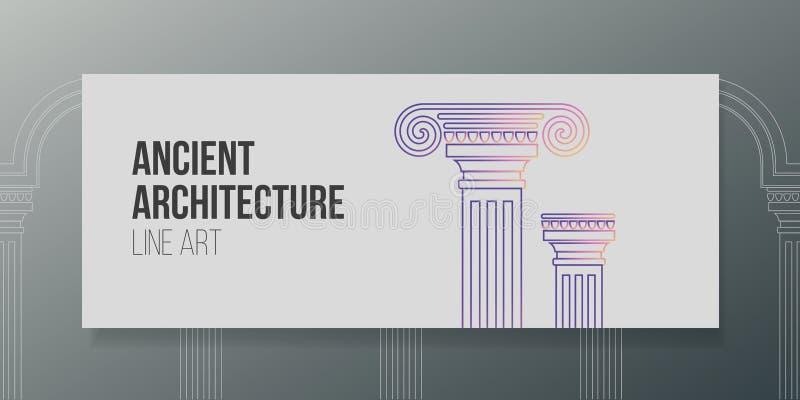 Architettura antica dell'illustrazione di vettore di progettazione del lineart dell'insegna illustrazione vettoriale