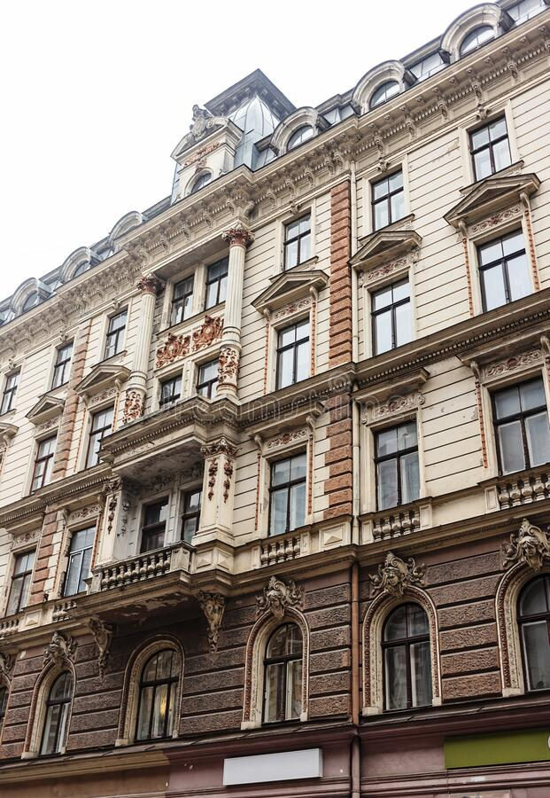 Architettura Art Nouveau a Riga, Lettonia immagine stock libera da diritti