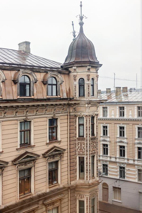Architettura Art Nouveau a Riga, Lettonia immagine stock
